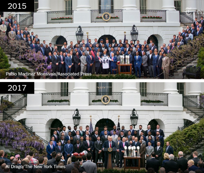2015 vs 2017 Patriots White House visits